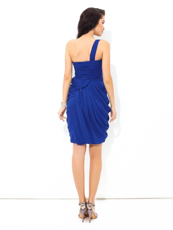 Sheath/Column One-Shoulder Pleats Sleeveless Short Chiffon Cocktail Dresses
