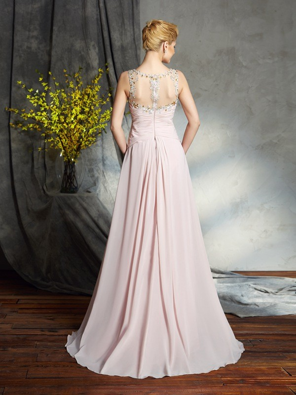 A-Line/Princess Bateau Applique Sleeveless Long Chiffon Mother of the Bride Dresses
