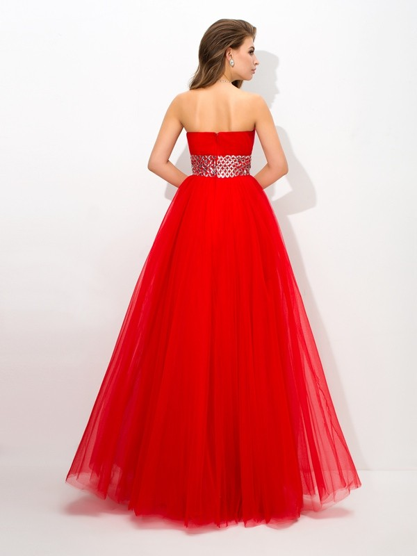 Ball Gown Strapless Beading Sleeveless Long Net Quinceanera Dresses