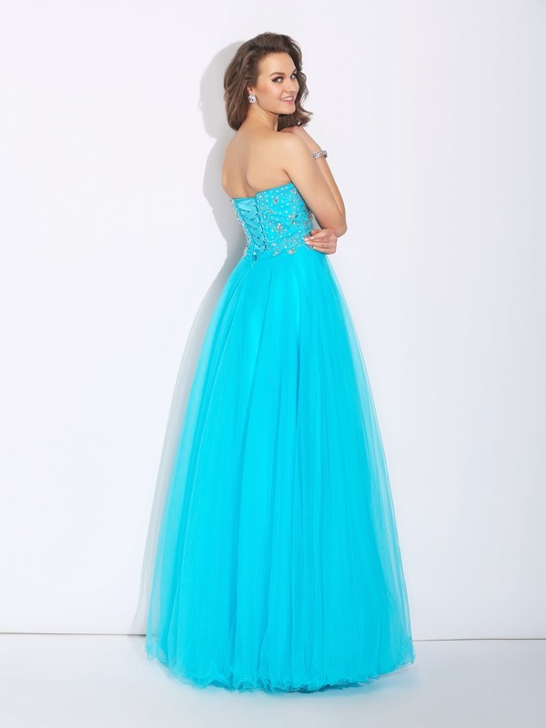 A-Line/Princess Sweetheart Rhinestone Sleeveless Long Satin Dresses