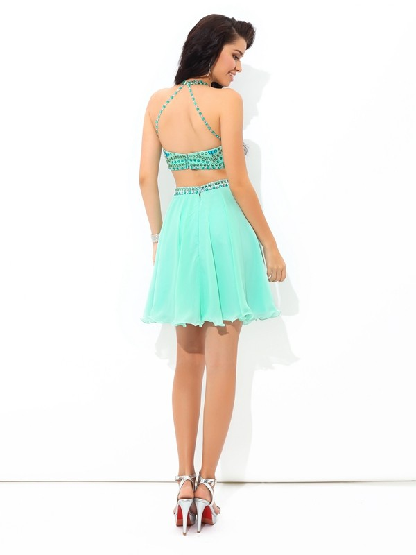 A-Line/Princess Sheer Neck Rhinestone Sleeveless Short Chiffon Two Piece Dresses