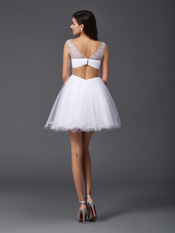 A-Line/Princess Scoop Beading Sleeveless Short Net Dresses