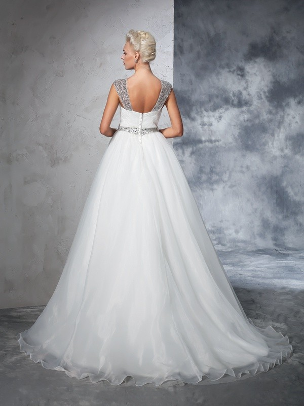 Ball Gown Straps Ruched Sleeveless Long Net Wedding Dresses