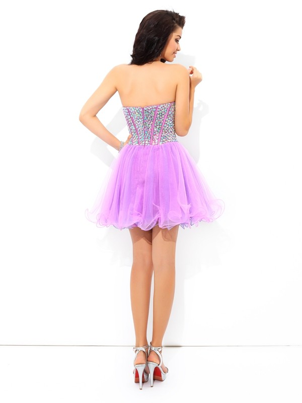 A-Line/Princess Sweetheart Paillette Sleeveless Short Net Cocktail Dresses