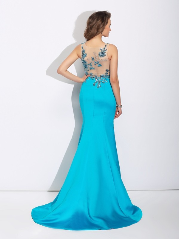 Trumpet/Mermaid Scoop Applique Sleeveless Long Satin Dresses
