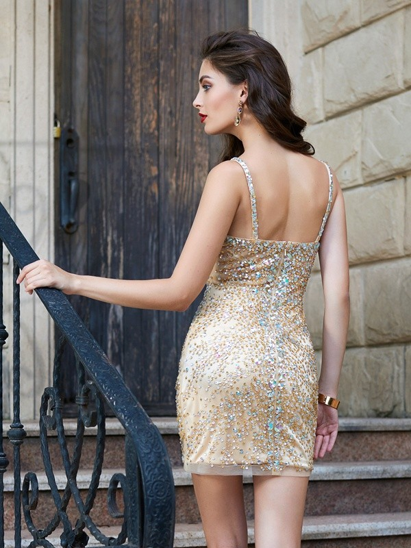 Sheath/Column Spaghetti Straps Net Sleeveless Sequin Short/Mini Dresses
