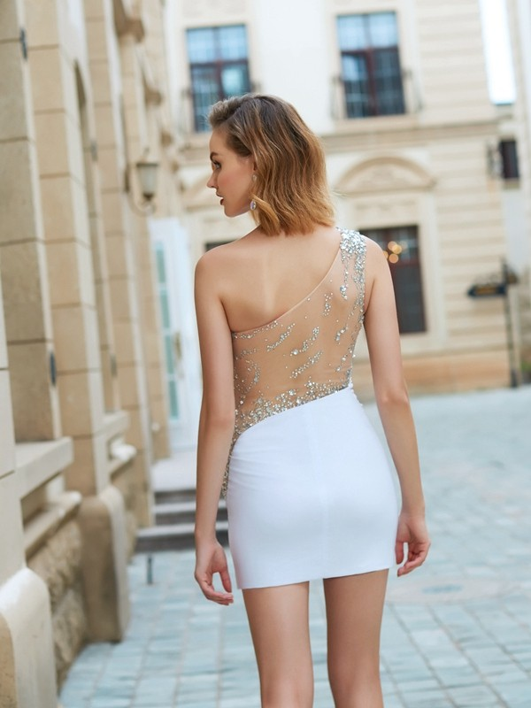 Sheath/Column Sleeveless One-Shoulder Beading Sleeveless Short/Mini Net Dresses