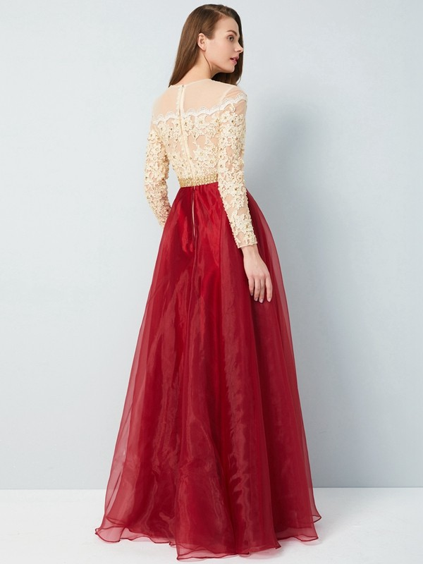 A-Line/Princess Sheer Neck Floor-Length Long Sleeves Applique Organza Dresses