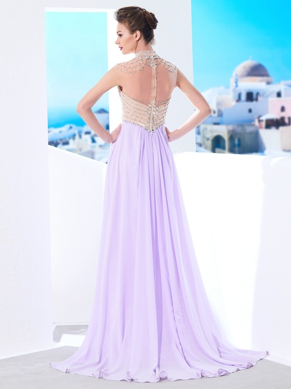A-Line/Princess High Neck Sleeveless Sweep/Brush Train Crystal Chiffon Dresses