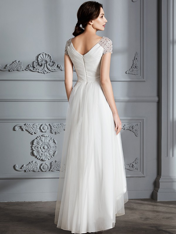 A-Line V-neck Short Sleeves Asymmetrical Tulle Wedding Dresses