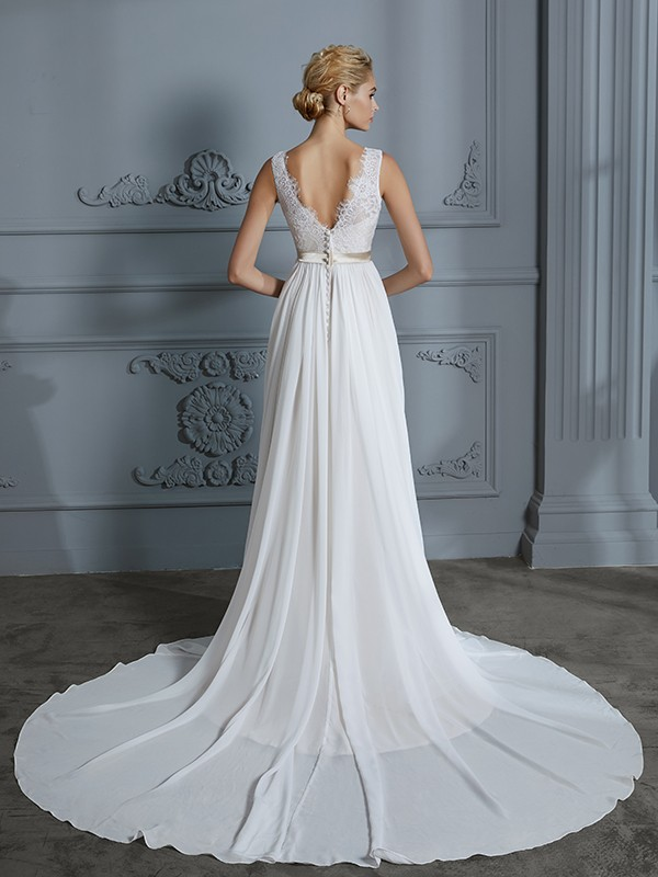 A-Line/Princess Sleeveless V-neck Chiffon Court Train Wedding Dresses