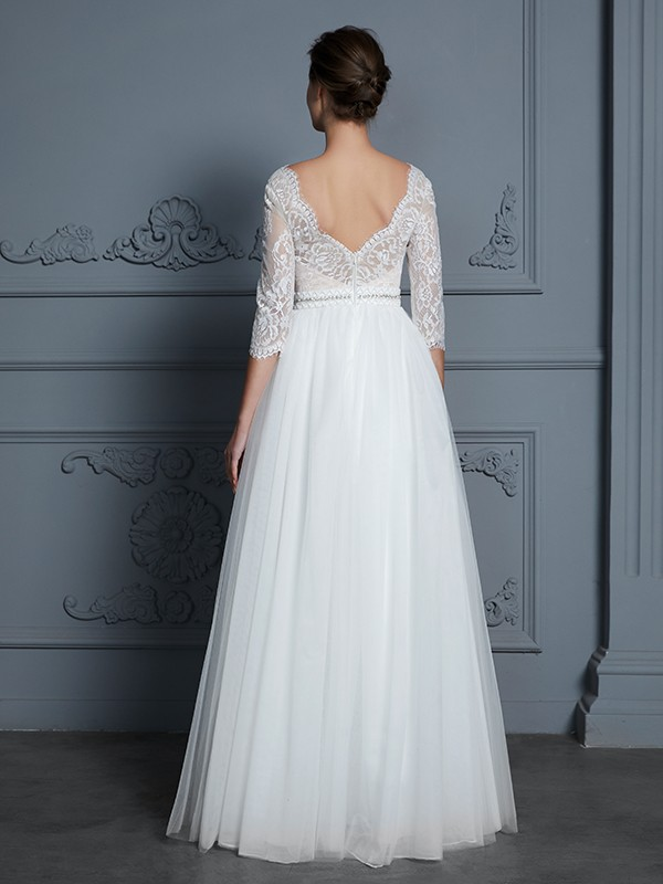 A-Line V-neck 3/4 Sleeves Floor-Length Lace Tulle Wedding Dress
