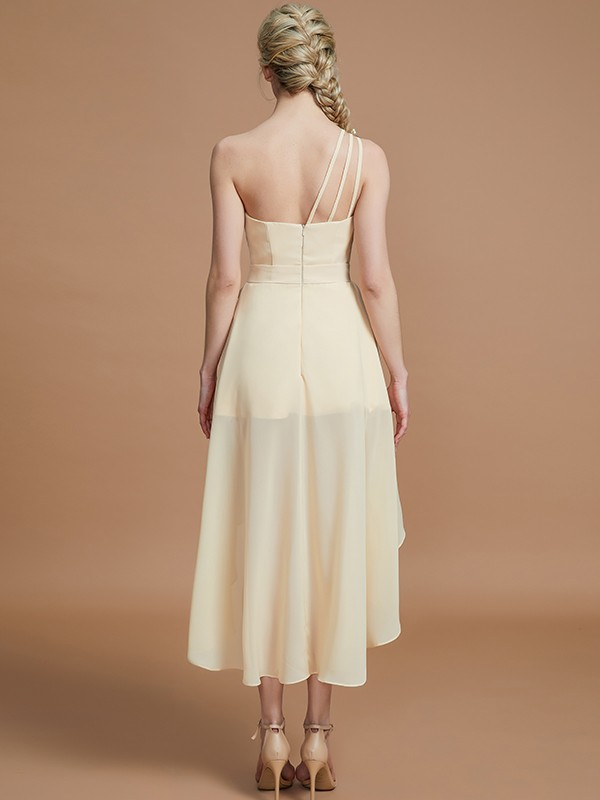 A-Line One-Shoulder Sleeveless Layers Asymmetrical Chiffon Bridesmaid Dresses