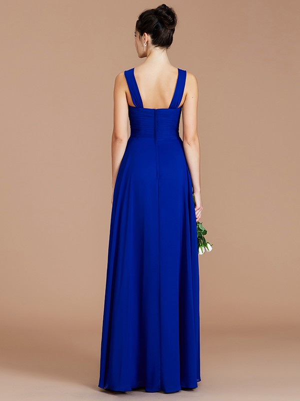 Empire Sweetheart Sleeveless Ruched Floor-Length Chiffon Bridesmaid Dresses