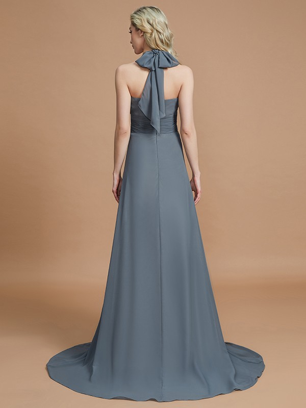 A-Line Halter Sleeveless Chiffon Sweep/Brush Train Bridesmaid Dresses