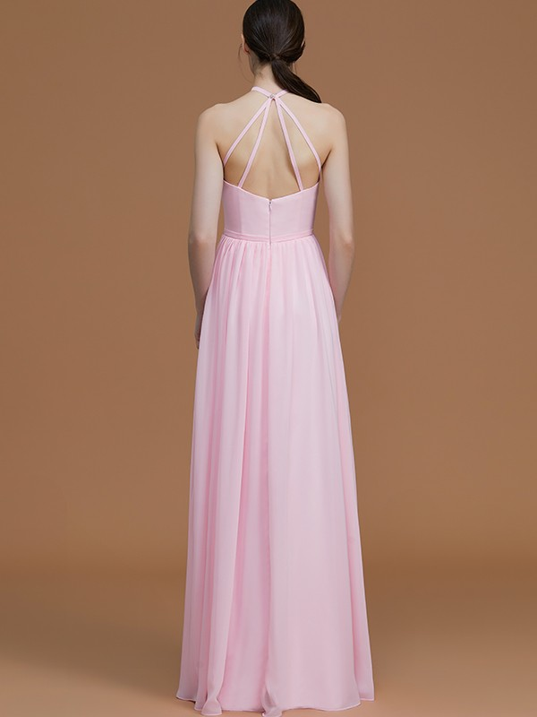 A-Line Halter Sleeveless Floor-Length Chiffon Bridesmaid Dress