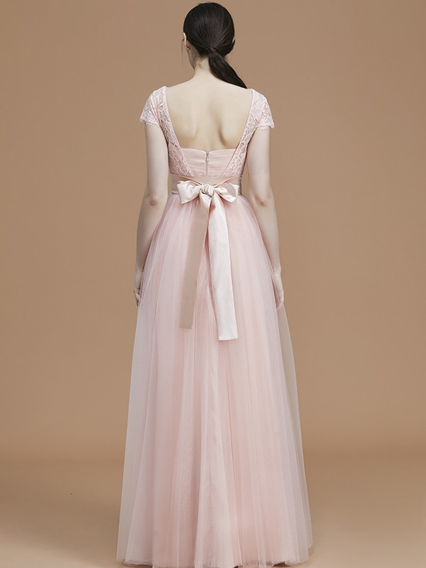 A-Line Bateau Short Sleeves Floor-Length Tulle Bridesmaid Dress