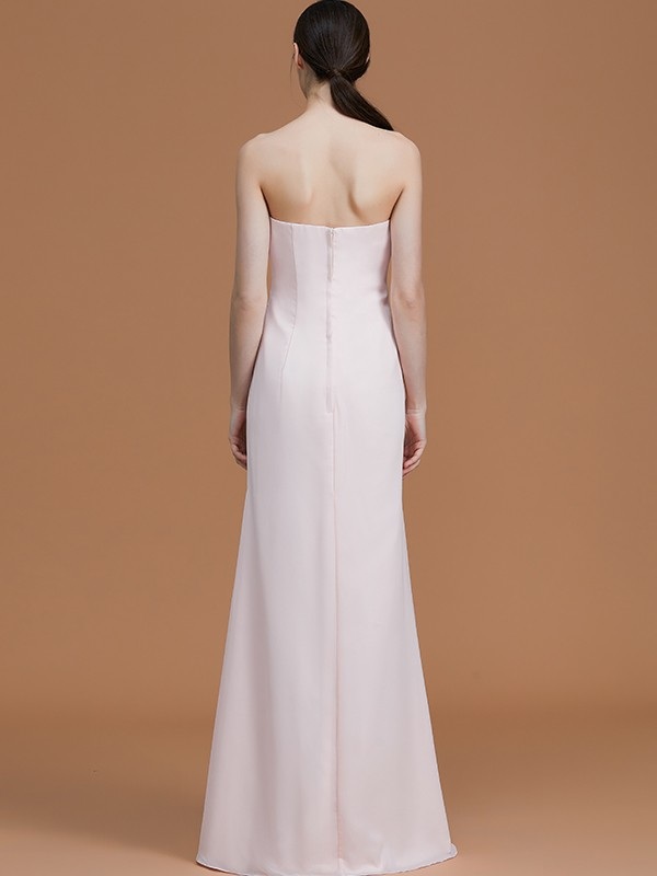 A-Line Strapless Sleeveless Floor-Length Chiffon Bridesmaid Dress