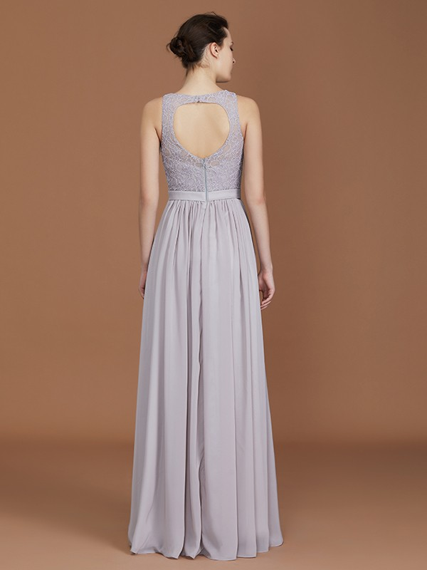A-Line Scoop Floor-Length Ruched Chiffon Bridesmaid Dress