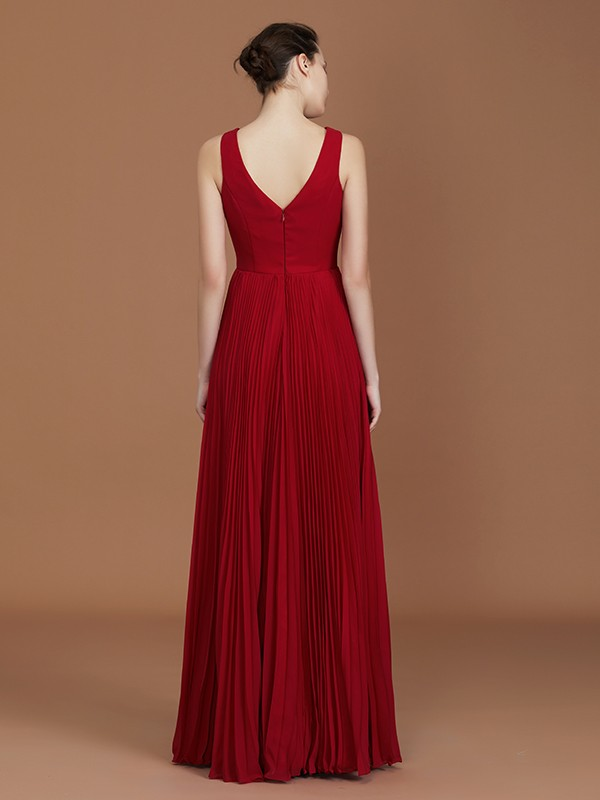 A-Line Sleeveless V-neck Floor-Length Chiffon Bridesmaid Dress