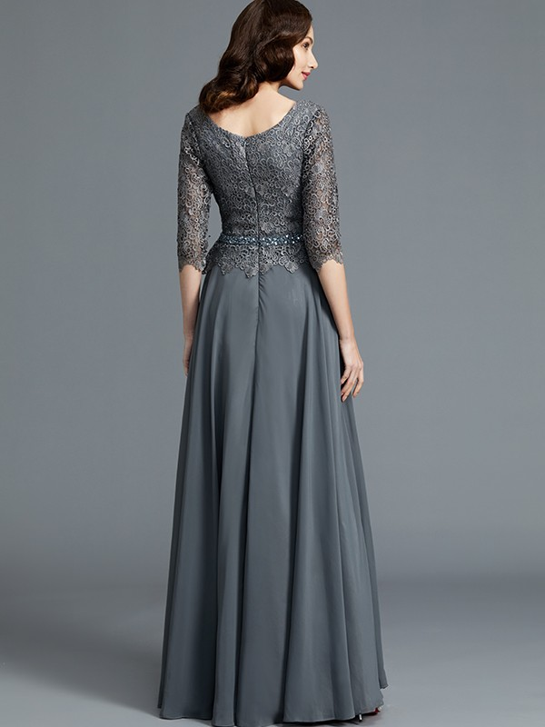 A-Line Scoop 1/2 Sleeves Chiffon Floor-Length Mother of the Bride Dresses