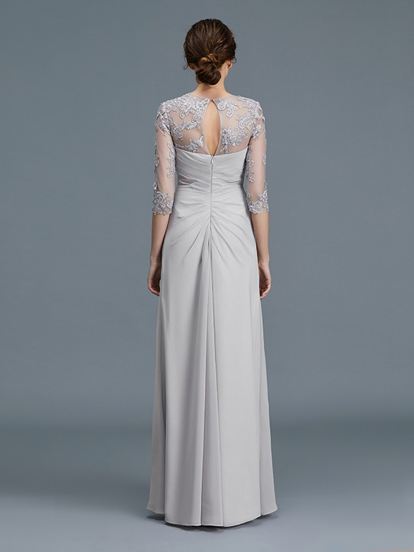 A-Line/Princess Scoop 3/4 Sleeves Chiffon Ruffles Floor-Length Mother of the Bride Dresses
