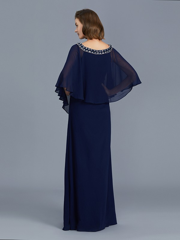 Sheath Scoop Long Sleeves Chiffon Floor-Length Mother of the Bride Dress