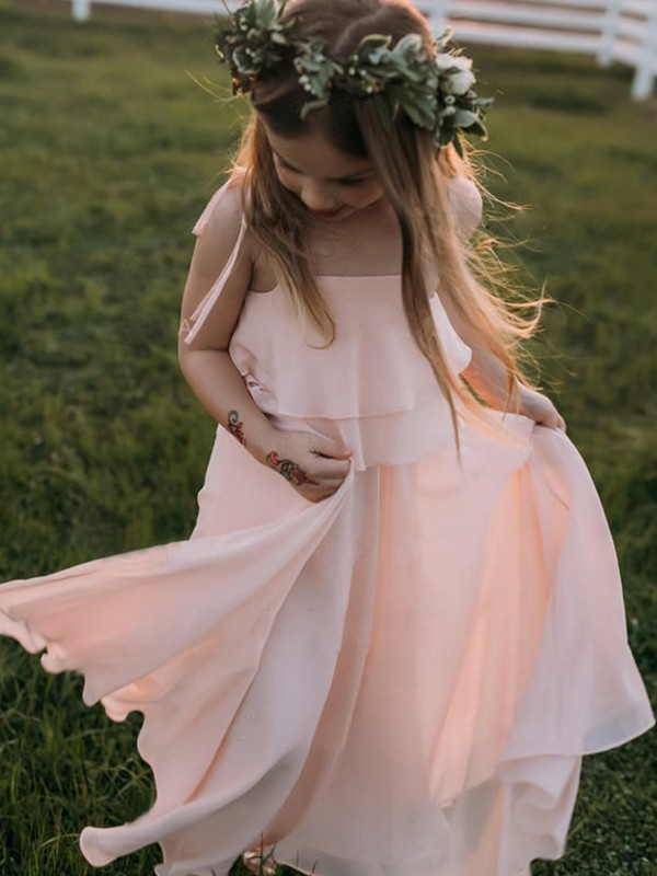 Empire Sleeveless Spaghetti Straps Floor-Length Ruffles Chiffon Flower Girl Dresses