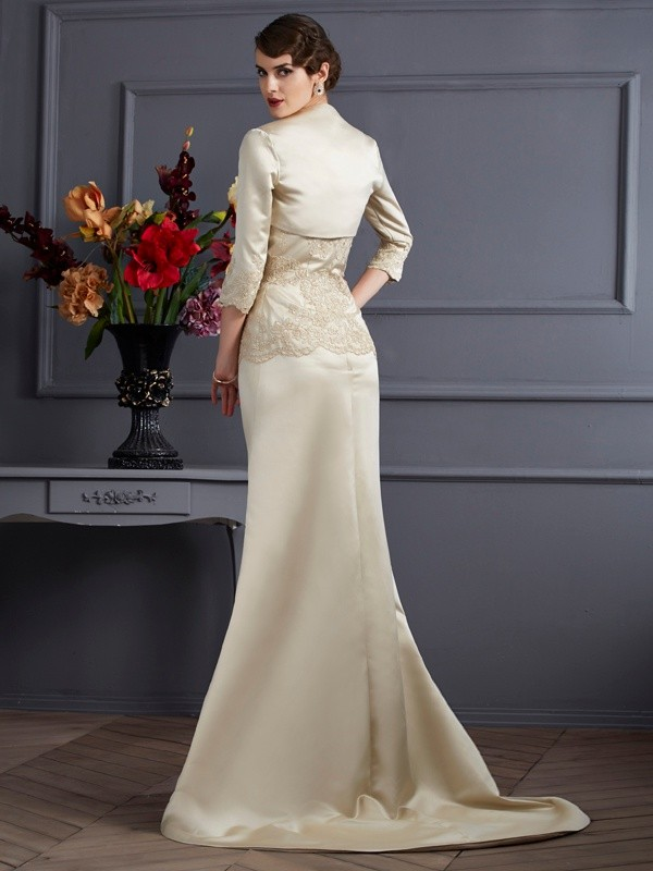 Satin 3/4 Sleeves Applique Special Occasion Wrap