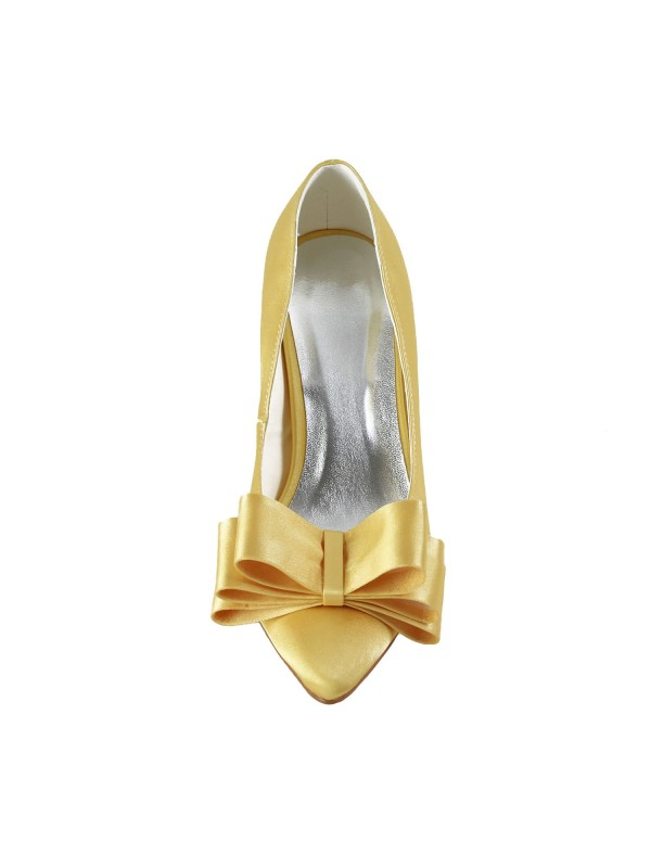 Women's Satin Spool Heel Closed Toe Bowknot Gold Wedding Shoes