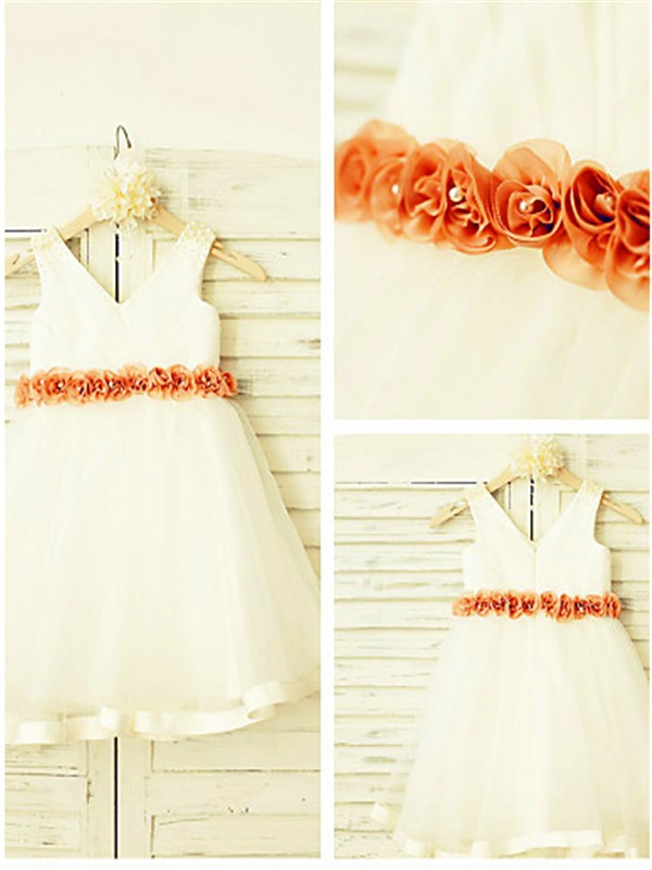 A-line V-neck Sleeveless Tea-Length Tulle Flower Girl Dress