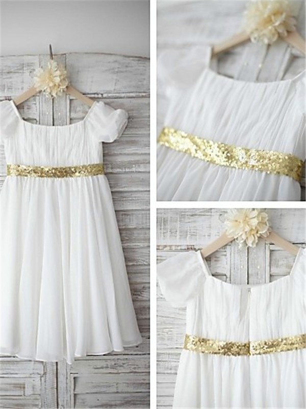 A-line Bateau Short Sleeves Tea-length Chiffon Flower Girl Dress