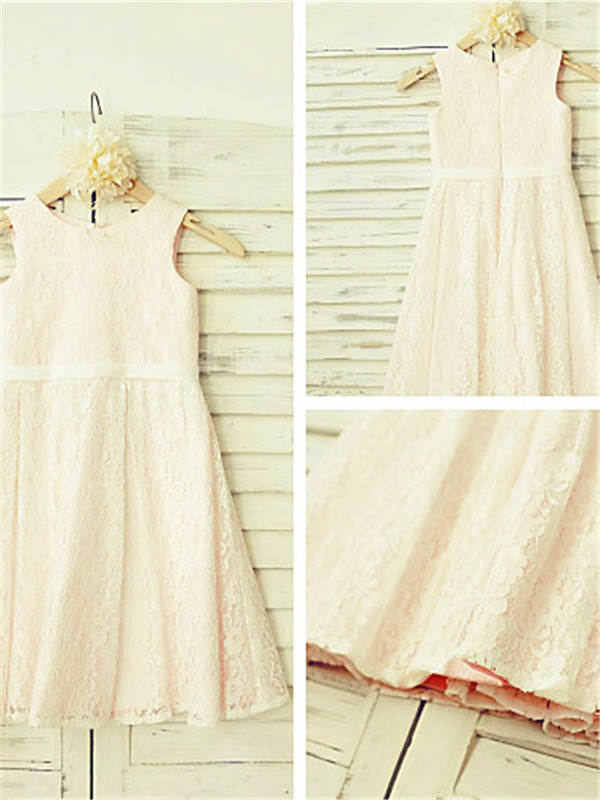 A-line Jewel Sleeveless Tea-length Lace Flower Girl Dress