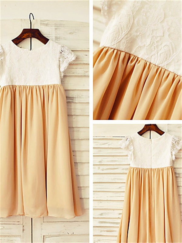 A-line Scoop Short Sleeves Tea-length Chiffon Flower Girl Dress