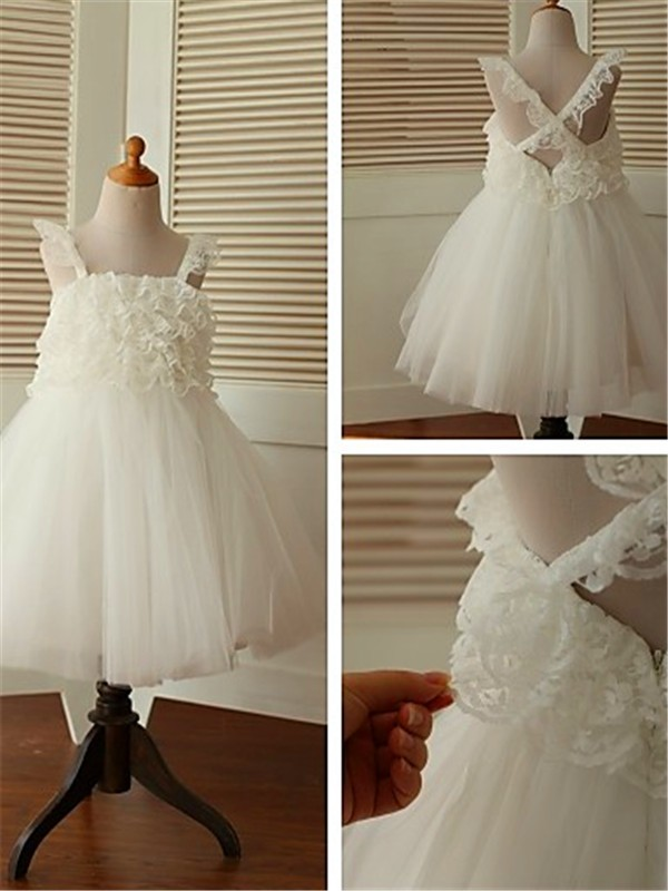 A-line Sleeveless Straps Tea-Length Organza Flower Girl Dress