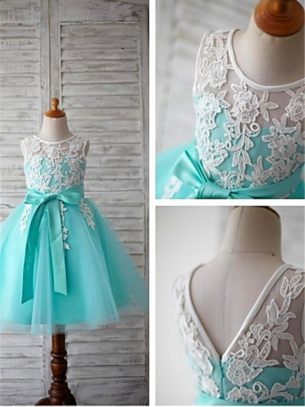 Ball Gown Scoop Sleeveless Tea-Length Tulle Flower Girl Dress
