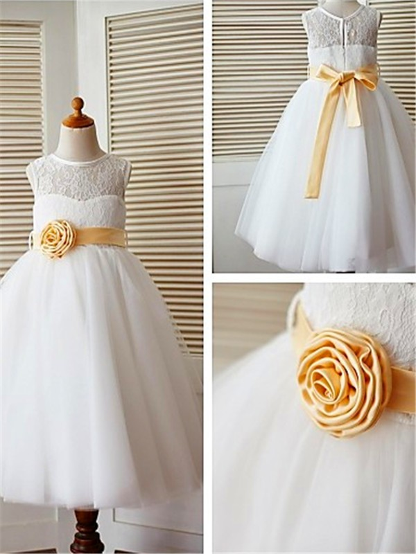 A-line Tea-Length Scoop Lace Sleeveless Tulle Flower Girl Dress