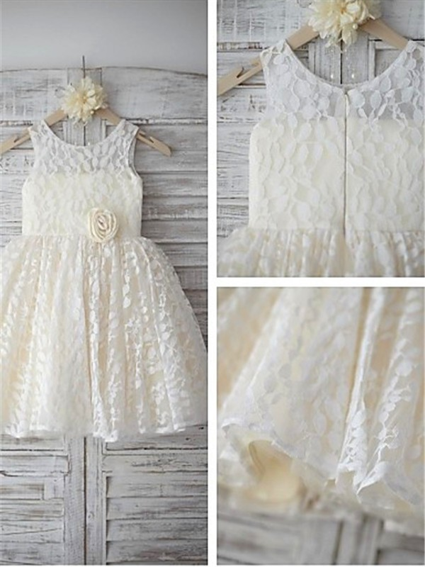 A-line Sleeveless Scoop Tea-length Lace Flower Girl Dress