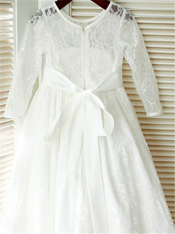 A-line Scoop Long Sleeves Ankle-length Lace Flower Girl Dress