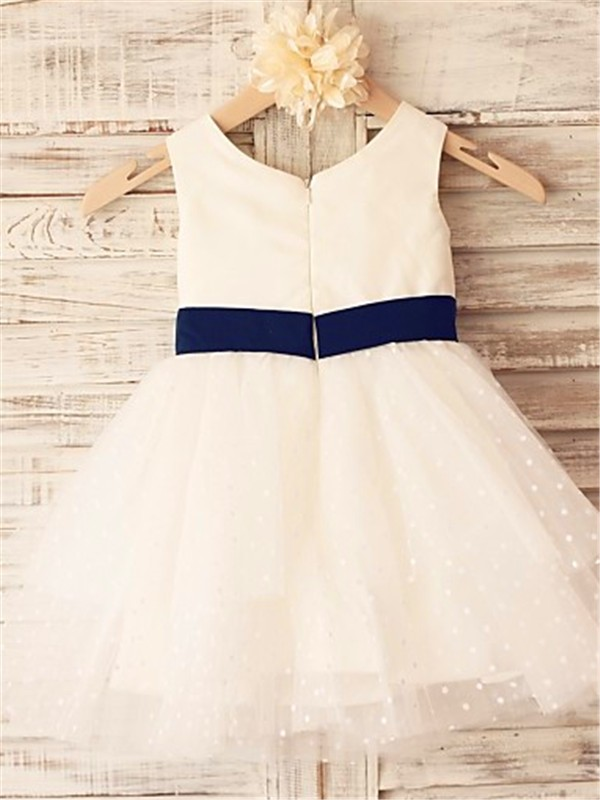 A-line Sleeveless Scoop Tea-Length Organza Flower Girl Dress