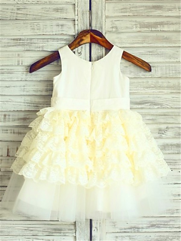 Ball Gown Scoop Sleeveless Layers Tea-Length Lace Flower Girl Dress