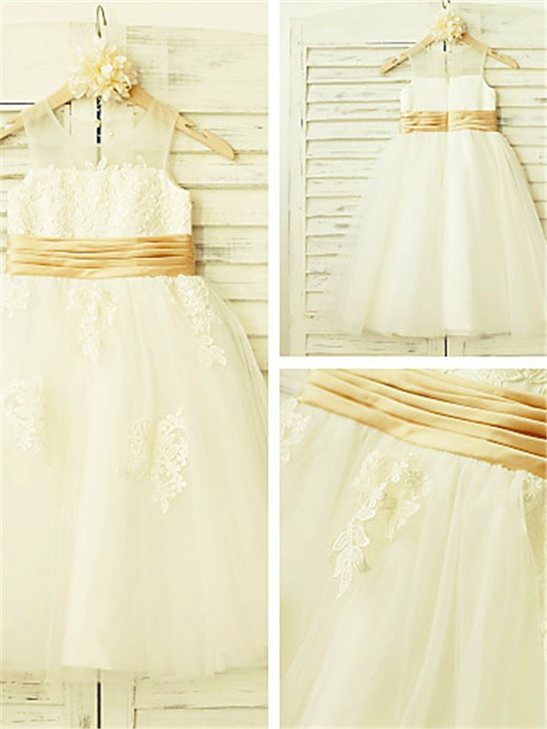 A-line Sleeveless Scoop Lace Tea-Length Tulle Flower Girl Dress