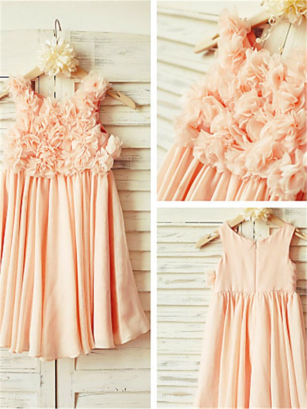 A-line Straps Sleeveless Tea-length Chiffon Flower Girl Dress
