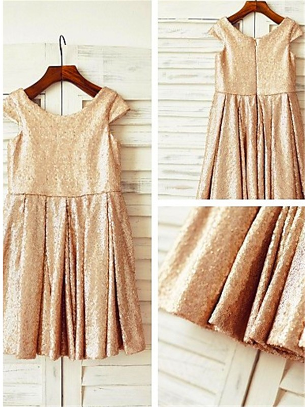 A-line Scoop Short Sleeves Tea-Length Sequins Flower Girl Dress