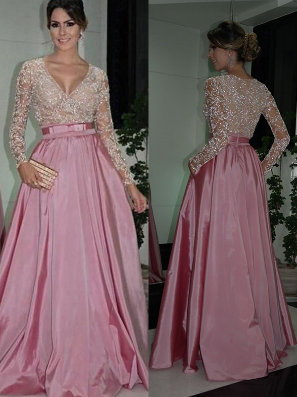 A-Line Long Sleeves V-neck Floor-Length Lace Satin Dresses
