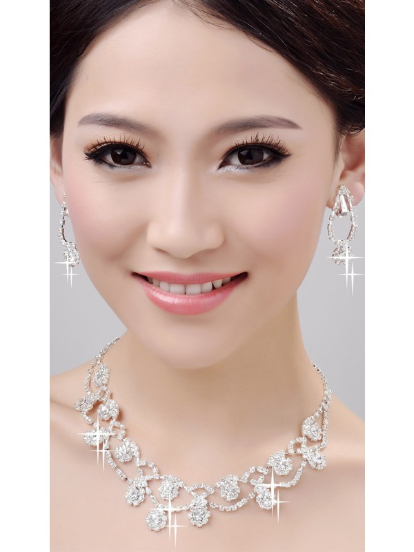 Glamorous Alloy Clear Crystals Wedding Necklaces Earrings Set