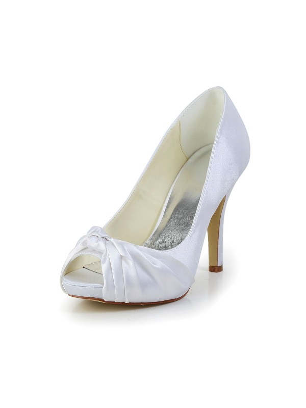 Women's Gorgeous Satin Stiletto Heel Peep Toe White Wedding Shoes