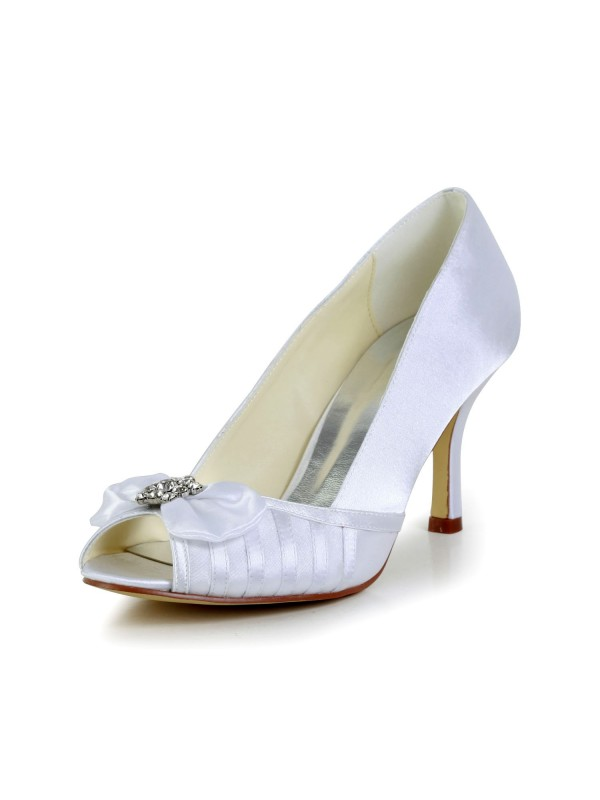 Women's Graceful Bowknot Stiletto Heel Satin White Wedding Shoes