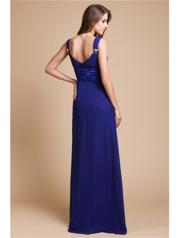 Sheath/Column V-neck Sleeveless Ruffles Long Chiffon Bridesmaid Dresses