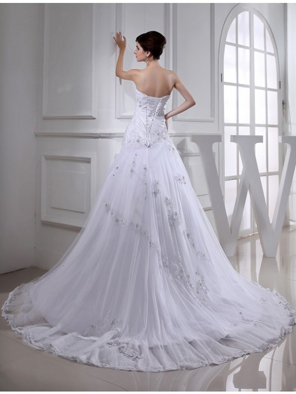 A-Line/Princess Beading Long Sleeveless Strapless Tulle Taffeta Wedding Dresses